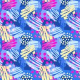 Surface pattern design, graffiti seamless hand craft expressive. Ink hipster pattern.Grunge urban dynamic expressive bright painting.Print for textile,apparel Stock Photos