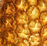 The surface of a pineapple. Details peel pineapple embossed golden background Stock Photos