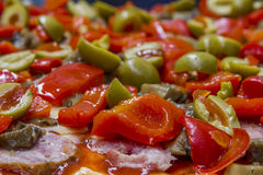 Surface of pizza prepared for baking Royalty Free Stock Photo