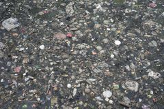 Surface of a polluted river in Jakarta, Indonesia stock image