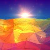 Surface polygonale de triangles abstraites avec la lumière du soleil Images stock