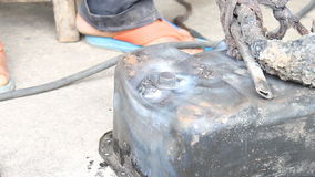 Surface Preparing The Crack of Oil Pan And Electric Welding stock footage