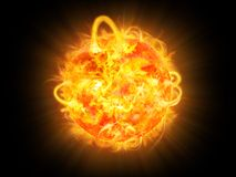 Surface solar explosion illustration Royalty Free Stock Photo