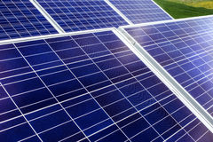 Surface of the a solar panel on field Royalty Free Stock Photo