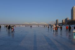 The frozen Songhua river in winter. The surface of Songhua river along Harbin was frozen in winter Royalty Free Stock Photos