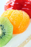 Surface of Strawberry and orange fruits on the cake. Royalty Free Stock Photo