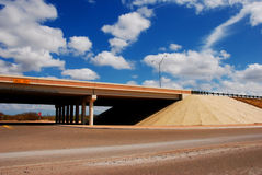 Surface street and raised freeway Stock Photo