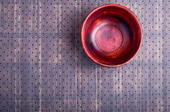 The surface of the table with a brown wooden bowl Stock Photos