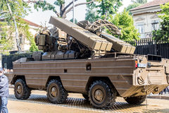 Surface-to-air missile system 9K33 Osa AK  on military hardware parade. Sofia, Bulgaria - May 06: Day of Valor. Surface-to-air missile system 9K33 Osa AK on Royalty Free Stock Photo