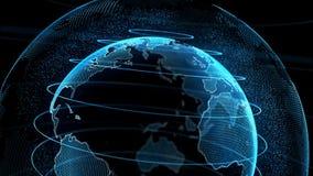 Surface transparente de globe numérique de la terre de mouvement banque de vidéos