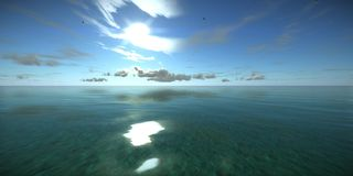 The surface of tropical ocean clear water, seagulls are flying in the sky on sunny day. High quality, perfectly 3D animation of blue tropical ocean waves, The stock illustration