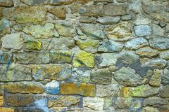 Surface of vintage stone wall at old house.  Stock Image