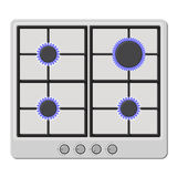 Surface of White Gas Hob Stove with Fire On. Vector royalty free illustration