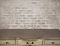 Surface of writing table with drawers over vintage background Royalty Free Stock Photo