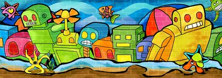Surfaced from the sea wall the colorful paint vector illustration