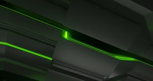 Surfaces métalliques futuristes de la science fiction avec le plan rapproché mené de lumières 3d ren Illustration de Vecteur