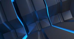 Surfaces métalliques futuristes de la science fiction avec le plan rapproché mené de lumières 3d ren Illustration Libre de Droits