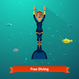 Surfacing free diver woman in wetsuit. Monofin and mask. Flat style vector  illustration Stock Images