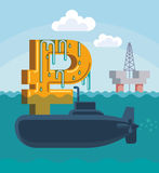 Surfacing of rouble. Surfacing of Russian rouble on the hull of military submarine. Conceptual vector illustration Stock Images