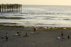 Surfant à la plage Pacifique à San Diego, CA Photographie stock libre de droits