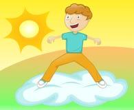 Surfar da nuvem do menino ilustração royalty free