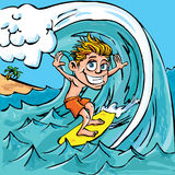 Surfar do menino dos desenhos animados Foto de Stock Royalty Free