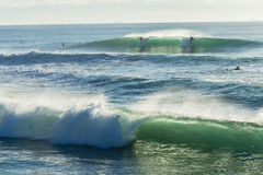 Surfar do passeio da onda dos surfistas Fotos de Stock Royalty Free
