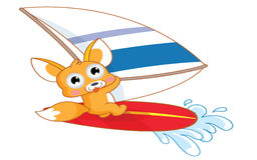 Surfar engraçado do esquilo dos desenhos animados ilustração stock