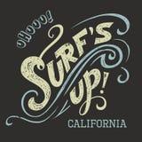 Surfar upp hand-bokstäver utslagsplats Royaltyfria Foton