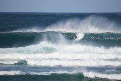 Surfare i en stor våg royaltyfri bild