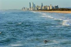 Surfare i surfareparadiset Queensland Australien royaltyfri foto