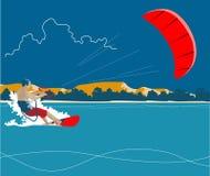 Surfare och röd drakebakgrund Royaltyfri Bild