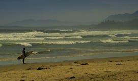 Surfare på den offentliga stranden med vågor och berg Tofino British Columbia Royaltyfri Bild