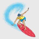 Surfare på en våg, handteckning stock illustrationer