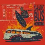 Surfare på röd grafisk bakgrund med haj-bussen, vektormall royaltyfri illustrationer