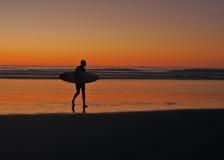 Surfare på solnedgången   Arkivfoto