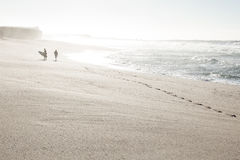 Surfare på stranden arkivbilder