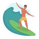 Surfare på vågen också vektor för coreldrawillustration royaltyfri illustrationer