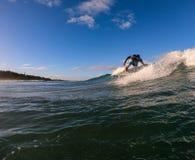 Surfare p? en vinka arkivbilder