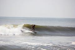 Surfare som fångar en våg i havet royaltyfri foto