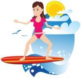 Surfareflicka stock illustrationer