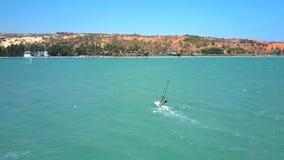 Surfaren med genomskinligt seglar retur till kusten arkivfilmer