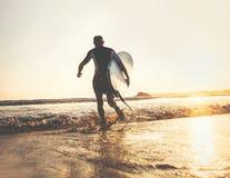Surfaren med surfingbrädan kör i havvågor, solnedgångtid Aktiv l royaltyfria bilder