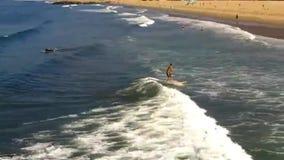 Surfaren rider en våg arkivfilmer