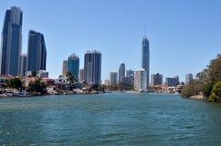 Surfareparadishorisont - Gold Coast Queensland Australien Fotografering för Bildbyråer