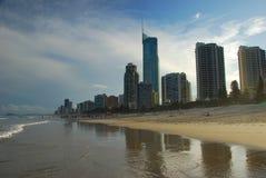 Surfareparadisstrand Gold Coast Queensland, Australien Fotografering för Bildbyråer