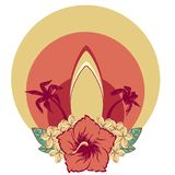 Surfboard в hawaiian цветет гибискус букета и plumeria и ладони стоковое фото rf