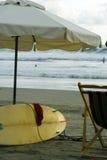 Surfboard on beach ecuador Stock Image