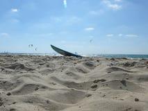 surfboard on the beach stock photography