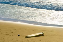 Surfboard on the beach. Surfing Stock Images